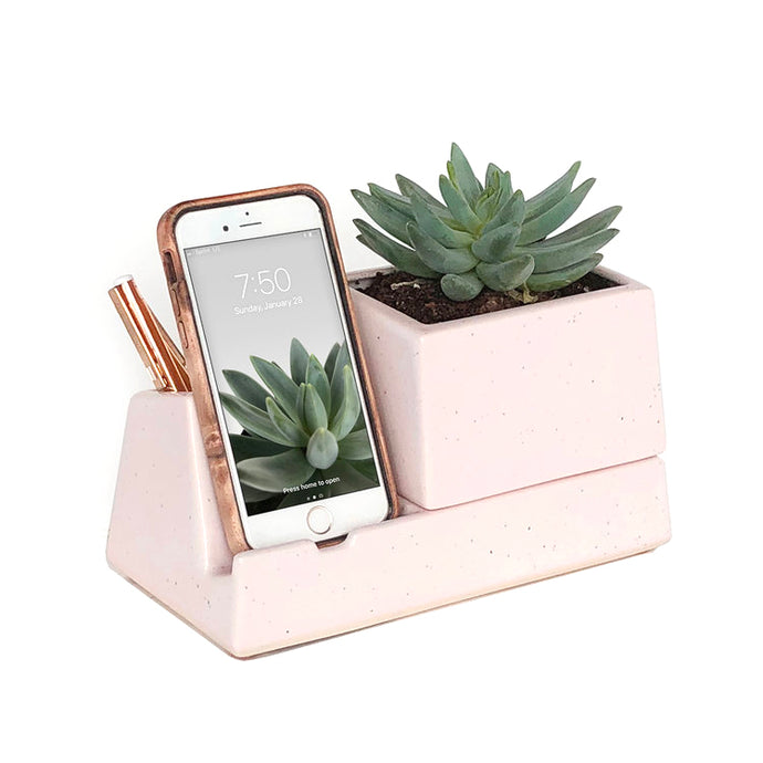 Handmade Ceramic Large Phone Dock with Planter
