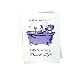 Relaxing Bathtub Birthday Card