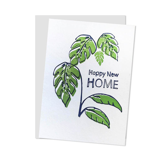 Happy New Home Monastera Letterpress Card