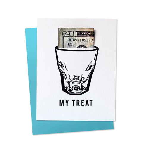 My Treat Shot Glass Money Holder Card