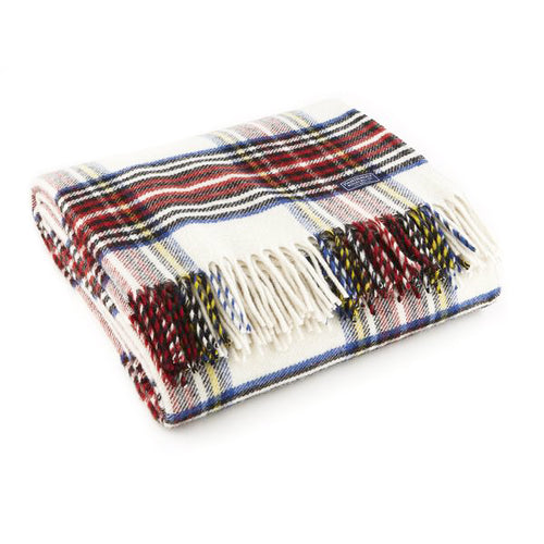 Stewart Plaid White Wool Throw Blanket