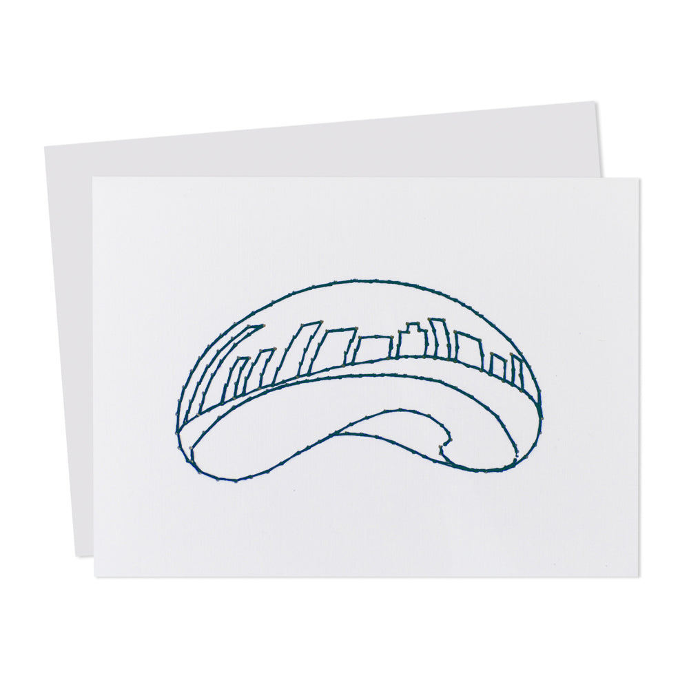 Chicago Bean Cloud Gate Stitched Card