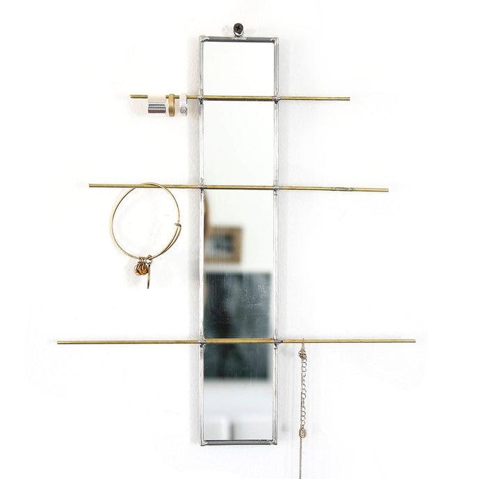 Linear Mirrored Hanging Jewelry Organizer