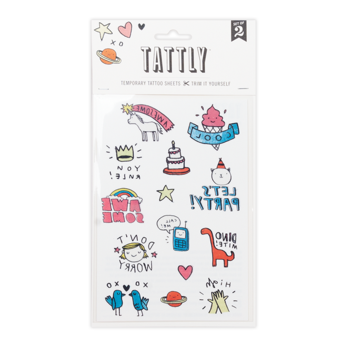 Tattly Party Pals Temporary Tattoo Sheet