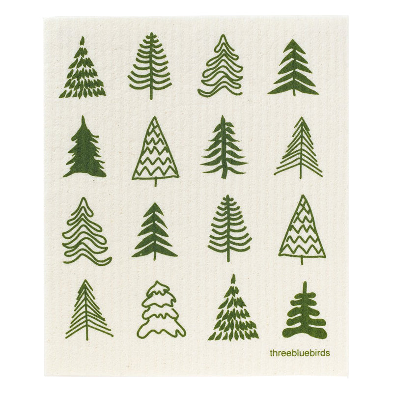 Woodland Pine Trees Swedish Dishcloth