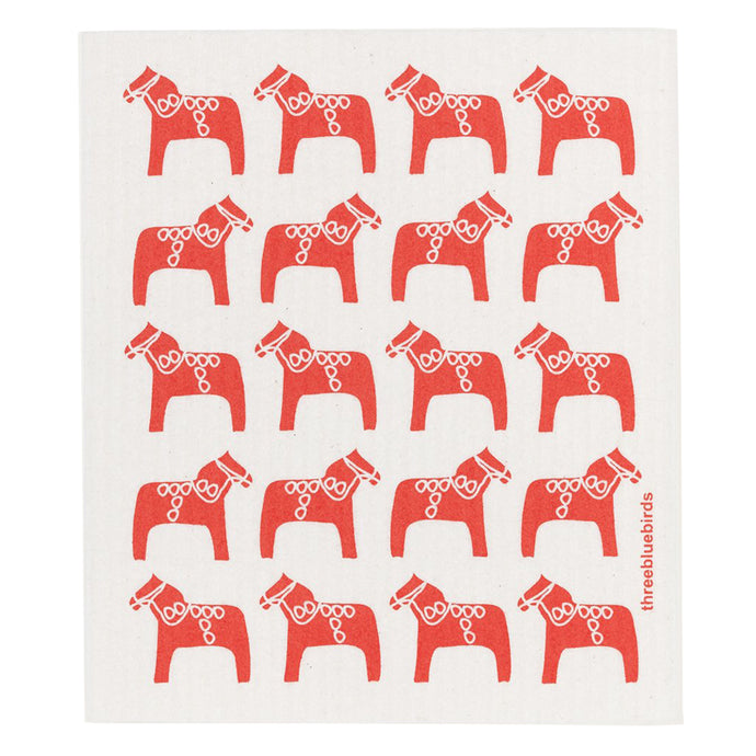 Red Dala Horse Swedish Dishcloth