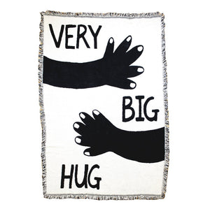 "Very Big Hug Black & White 44"" x 68"" Woven Throw Blanket"