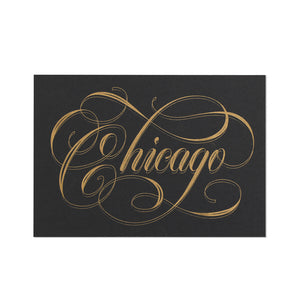 "Chicago Calligraphy Black & Gold 5"" x 7"" Print"
