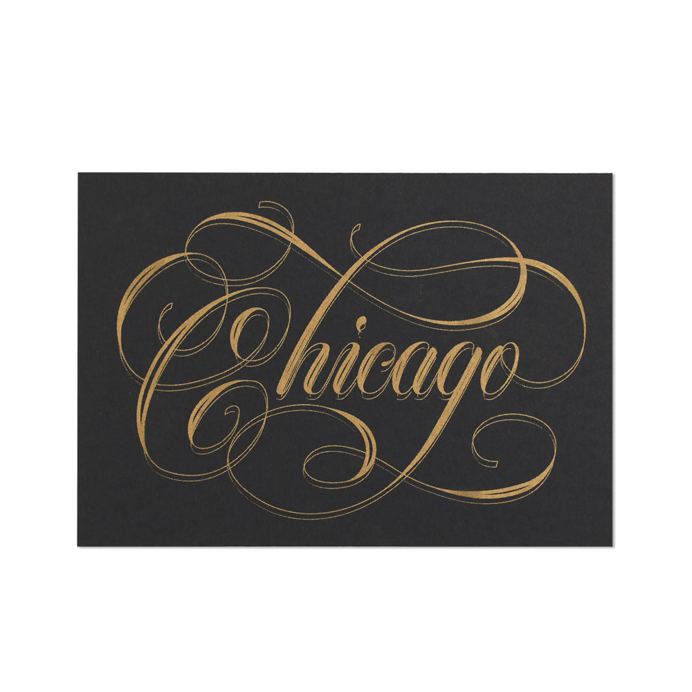 Chicago Calligraphy Black & Gold 5
