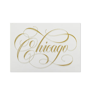 "Chicago Calligraphy White & Gold 5"" x 7"" Print"