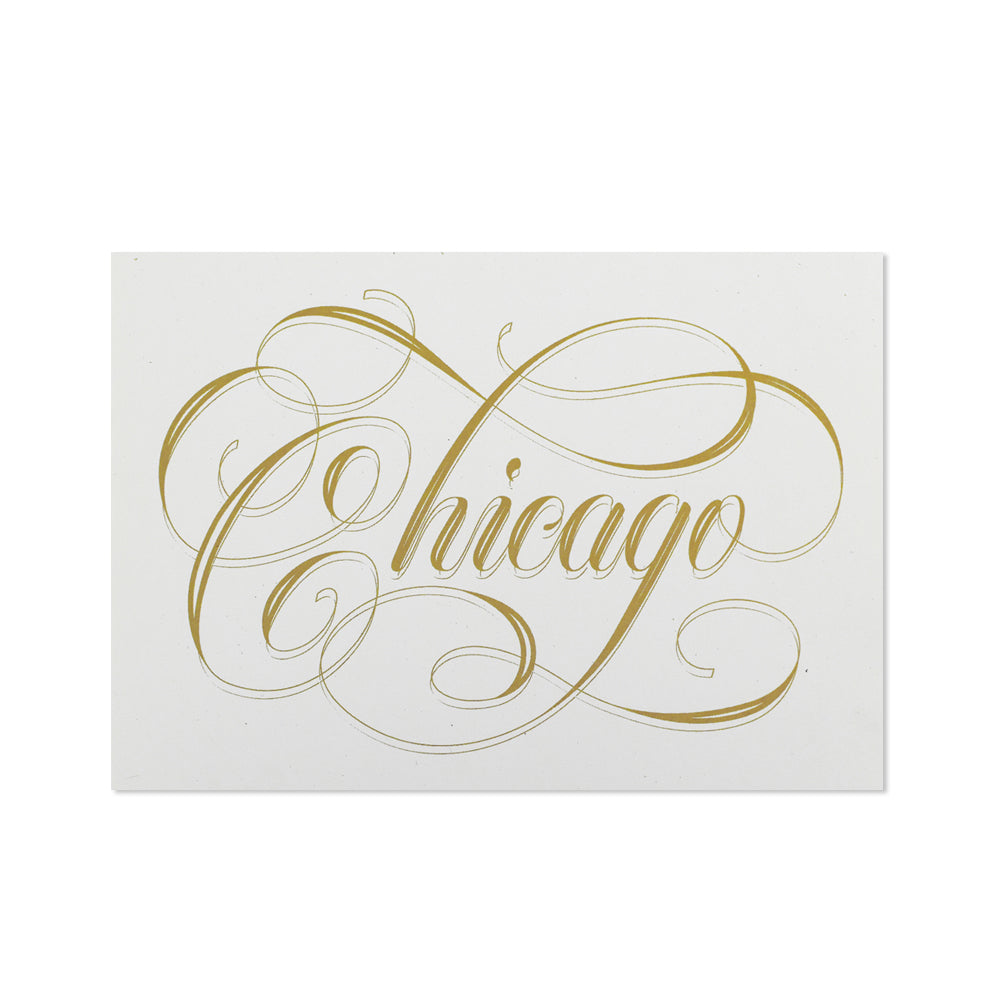Chicago Calligraphy White & Gold 5