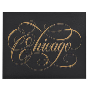 "Chicago Calligraphy Black & Gold 8"" x 10"" Print"