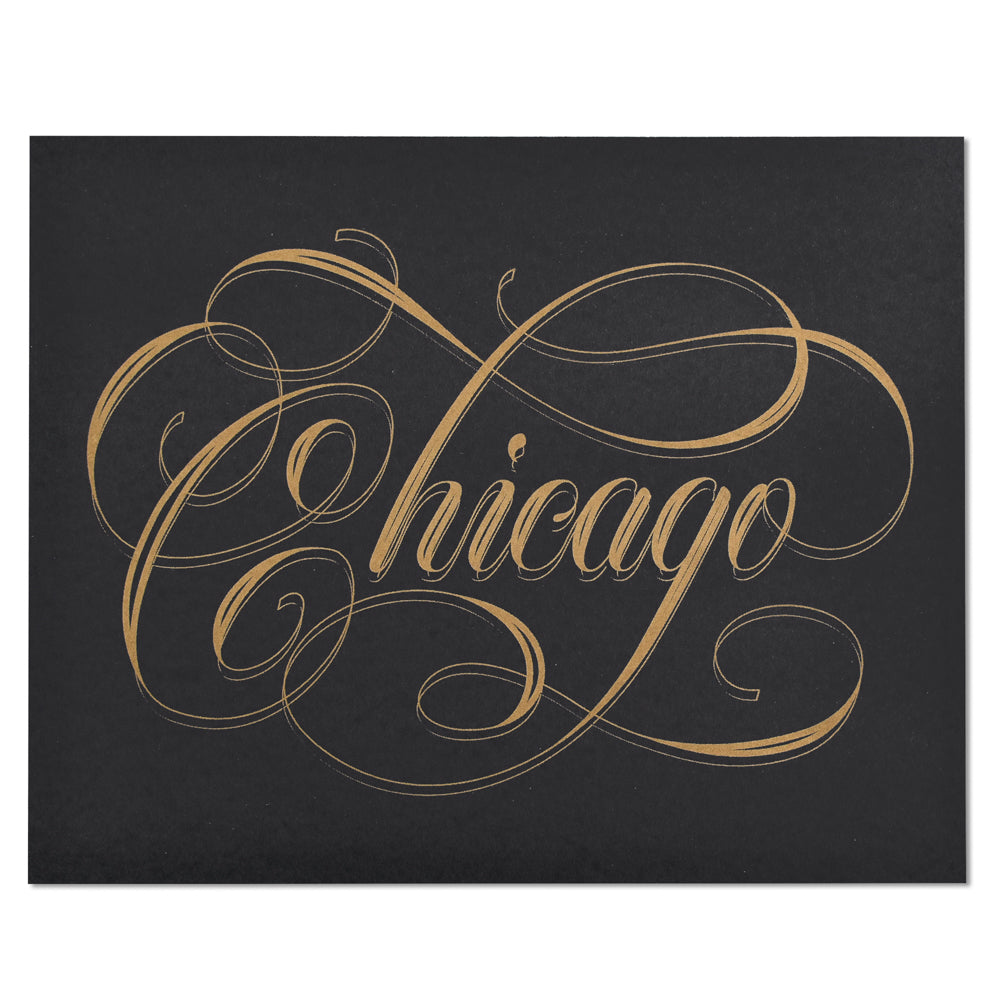 Chicago Calligraphy Black & Gold 8