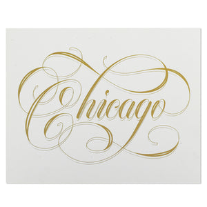"Chicago Calligraphy White & Gold 8"" x 10"" Print"