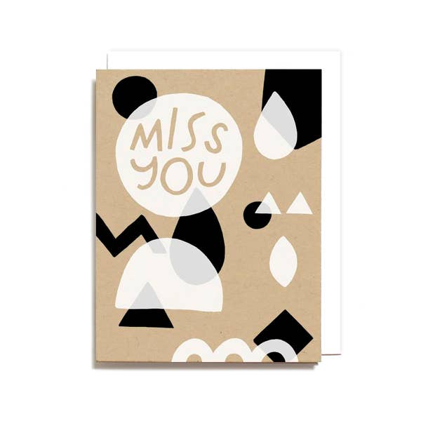 Miss You Geometric Greeting Card
