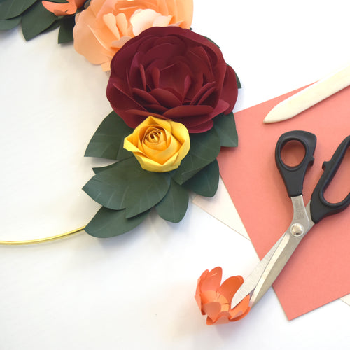 Friday, April 17th at 6p CST - VIRTUAL Workshop:  Floral Paper Wreath Workshop with Kana Wakai