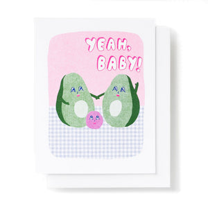 Yeah Baby Avocado New Baby Card