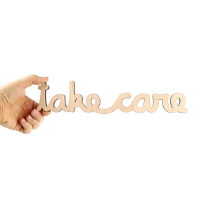 Take Care Cursive Wood Wall Sign