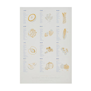 "Seasonal Fruit and Vegetable Calendar 13"" x 19"" Foil Pressed Print"