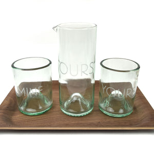 Yours, Mine & Ours Etched Cocktail or Wine Glass Set
