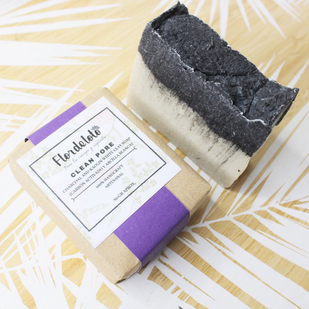CLEAN PORE SOAP CHARCOAL AND WHITE KAOLIN 80GR (FLOR DE LOTO)