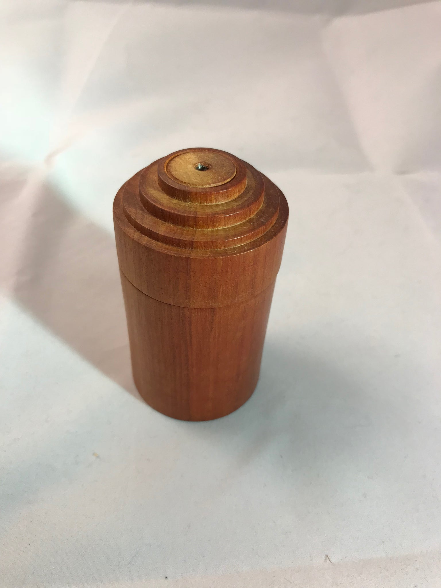 Wooden Round Jewelry Box made from a Red Heart tree