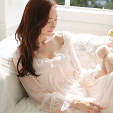 Load image into Gallery viewer, Female Sweet Princess Womens Soft Elegant Long Nightgowns Sleeping Home Dress Lady Lace Sexy White Pink Nightdress Nightclothes