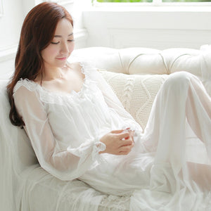 Female Sweet Princess Womens Soft Elegant Long Nightgowns Sleeping Home Dress Lady Lace Sexy White Pink Nightdress Nightclothes