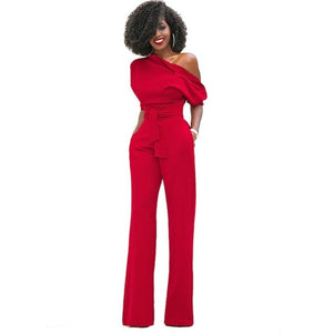 Womens Jumpsuits Bodycon Elegant Bodysuit Jumpsuit Sexy Summer Overalls Half Sleeve Off Should Solid Rompers