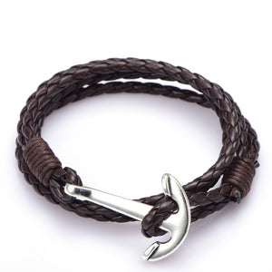 Male Accessories Jewelry Man Anchor Bracelet 41cm PU Leather Bracelet For Men Women Fashion Wristband Charm Bracelet Jewelry