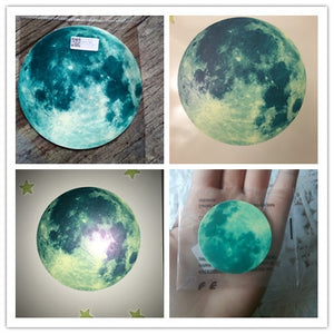 Wall Sticker Living Home Decor 20cm 3D Large Moon Glow in the Dark Luminous Wall Stickers