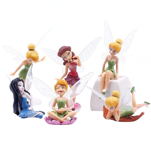 Decoration Crafts Figurines gift for girl 6 Pieces/Set Flower Pixie Fairy Miniature Figurine Dollhouse Garden Ornament