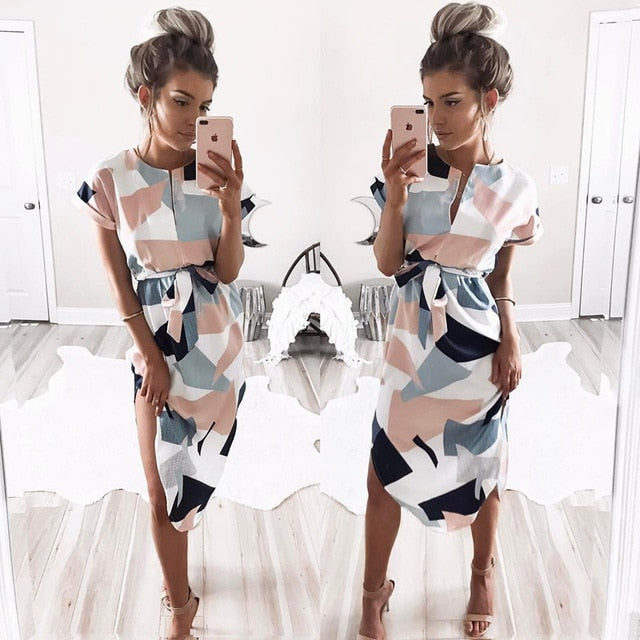 Tunic Bandage Bodycon  Party Dress Summer Women Beach Dress Boho Print Batwing Short Sleeve dress