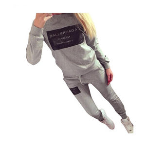 Ladies Fleece Tracksuits Long-sleeve Casual 2 Piece Set Women Outfit Sportswear Spring Autumn Winter Printed Letters