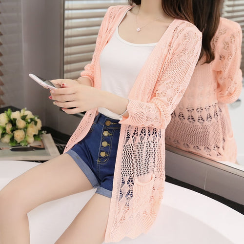 New spring jacket In the long section of a hollow loose shawl in summer Thin knit cardigan sweater female