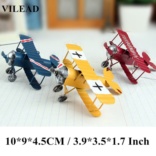 Glider Biplane Miniatures Home Decor Aircraft for Kids Gift Iron Retro Airplane Figurines  Metal Plane Model Vintage