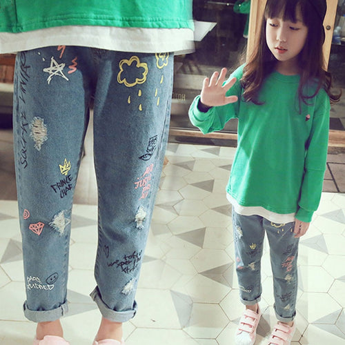 Children's Clothing For Girl Kids Pants Boutique Children Trouser Personality cloud graffiti printing hole casual children jeans