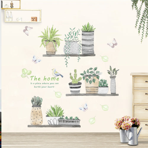 home decor living room kitchen pvc wall decals  garden plant bonsai flower butterfly wall stickers diy mural art decoration