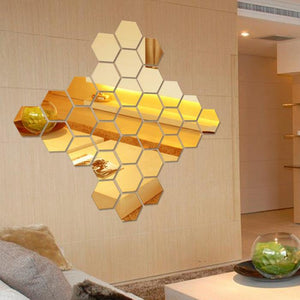 Hexagon Acrylic Mirror Wall Stickers DIY 12Pcs 3D  Art Wall Decor Stickers Home Decor Living Room Mirrored Decorative Sticker