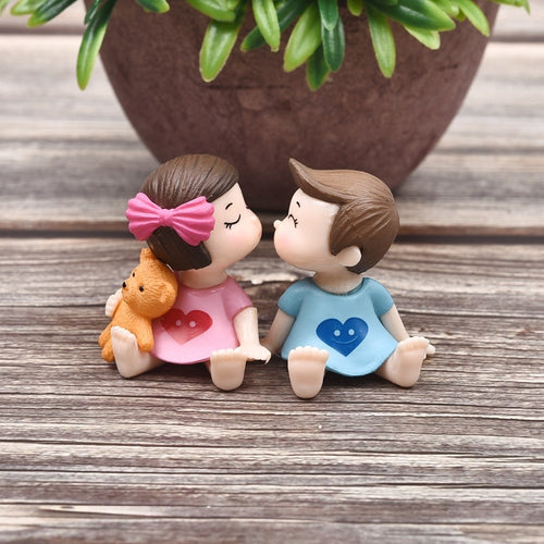 Fairy Garden Resin Crafts Decoration Accessories 1Pair Sweety Lovers Couple Figurines Miniatures