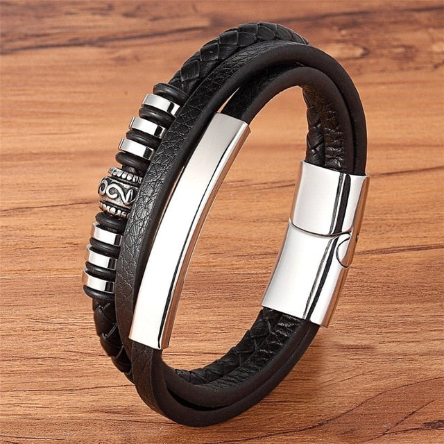 Genuine Leather Bracelet Black/Brown Color Accessories Jewelry For Men Geometrically Irregular Graphics Stainless Steel