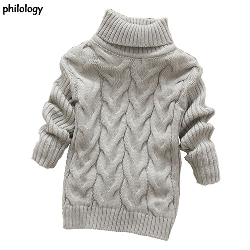 Knitted bottoming turtleneck shirts solid high collar pullover sweater 2T-8T pure color winter boy girl kid thick