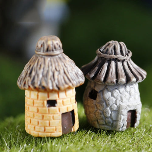 Miniatures Home Garden DIY Decoration 2 Pieces Old House Hut Model Small Statue Figurine Crafts Figure Ornament Miniatures Home Garden DIY Decoration