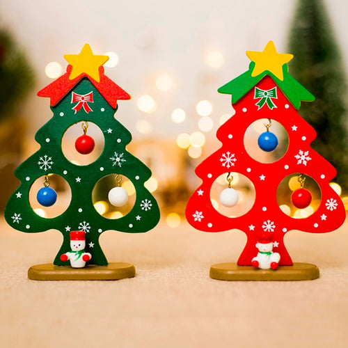Decorations For Home Christmas Tree Small Ornament Mini Painted Christmas Tree Decorations Christmas Wooden Card New Year's