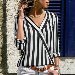 V-neck Shirts Casual Tops Blouse Women Striped Blouse Shirt Long Sleeve Blouse