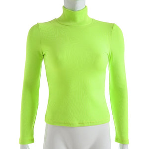 Turtleneck Tshirt Fashion Knitted Tops Autumn Winter Neon Color Ribbed T Shirt Women Long Sleeve Tee