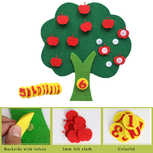 Montessori Education Supplies Apple Tree Toys Kids Gifts Felt Cloth DIY Children Educational Toy Durable Digital Cognitive Child
