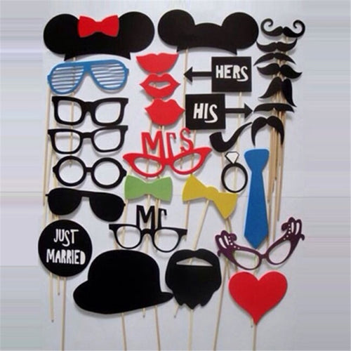 Photo Booth Prop  31 PCS Funny Photo Booth Props Hat Mustache On A Stick Wedding Favors Birthday Party Decoration