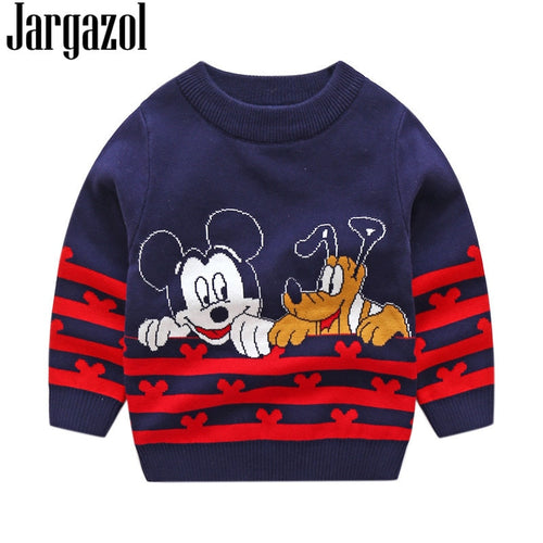 Embroidery Christmas Children Boys Jacquard Weave Tops Girls Sweater Autumn Winter Boys Sweaters Kids Clothes Mickey Dog Cartoon