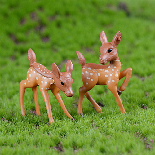 Resin Crafts Figurines For Home Decoration 2pcs/Set Artificial Mini Sika Deer Fairy Garden Miniatures